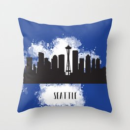 Seattle skyline silhouette Throw Pillow