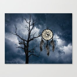 Black Bird Crow Tree Dream Catcher Night Moon A082 Canvas Print