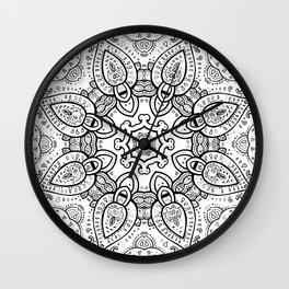 White Gray Black Paisley Mandala Wall Clock