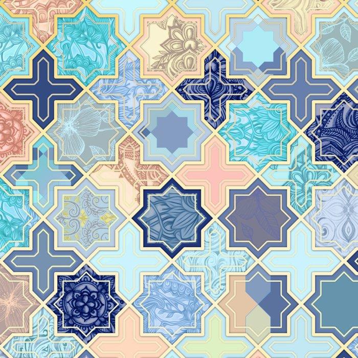 Cream, Navy and Aqua Geometric Tile Pattern Leggings