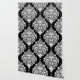 Black Monochrome Damask Pattern Wallpaper