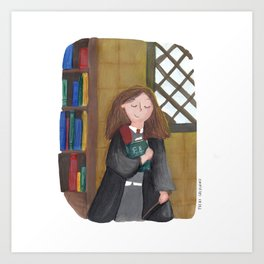 Hermione at the library Art Print