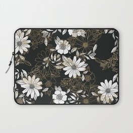 Modern black white faux gold elegant floral Laptop Sleeve