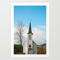 Country Church in the Mountians Art Print