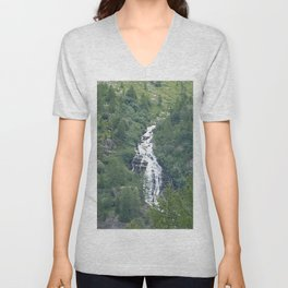 Alpine Valley River Waterfall Alps Mountains Landscape Unisex V-Neck