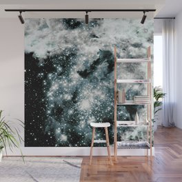 Sparkle Stars Teal Gray Elegance Wall Mural