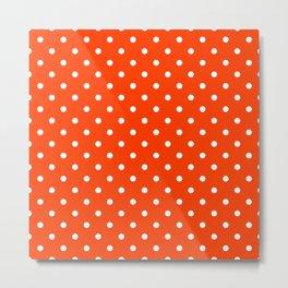 Orange Pop and White Polka Dots Metal Print