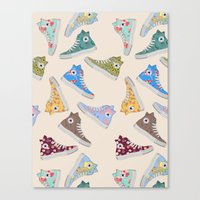 converse Canvas Prints featuring Converse  by SarahBoltonIllustration