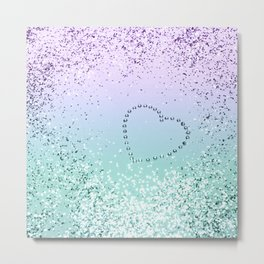 Sparkling MERMAID Girls Glitter Heart #1 #decor #art #society6 Metal Print