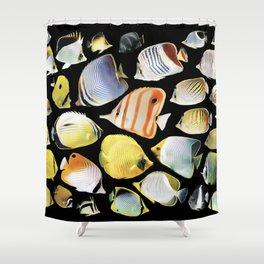 Butterflyfish_Black base Shower Curtain