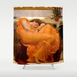 FLAMING JUNE - FREDERIC LEIGHTON (RESTORED) Shower Curtain