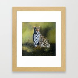 A painting of a Leopard stare Framed Art Print