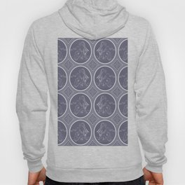 Grisaille Charcoal Blue Grey Neo-Classical Ovals Hoody
