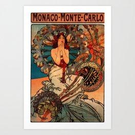 "Alphonse Mucha ""Monaco Monte Carlo"" Art Print"