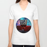 tv V-neck T-shirts featuring Television by Cs025