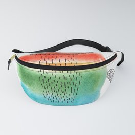 Rainbow cat in watercolor sketch Fanny Pack