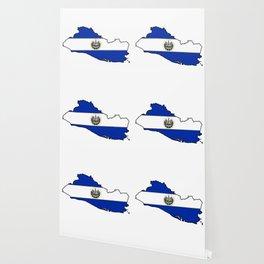 El Salvador Map with Salvadoran Flag Wallpaper