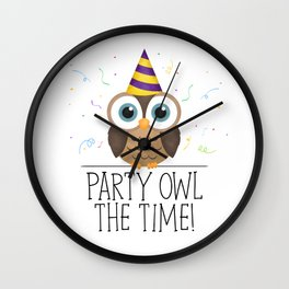Party Owl The Time Wall Clock