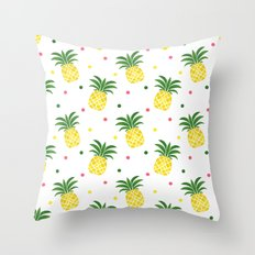 Tropical fruit sunshine yellow green pineapple polka dots Throw Pillow