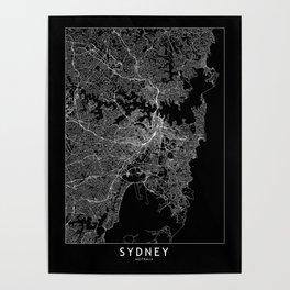 Sydney Black Map Poster