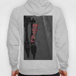 Street Photography Black and White and Red Hotel Italian Hoody