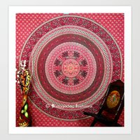 bedding Art Prints featuring  Hippie Tapestry Throw Bedding in Red color by Ved India