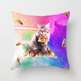 Outer Space Pizza Cat - Rainbow Laser, Taco, Burrito Throw Pillow