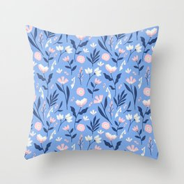 Floral Blue Pattern Throw Pillow