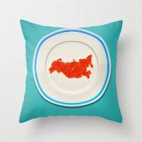 russia Throw Pillows featuring Food: Russia by Dmitriy Turovskiy (pushok12)