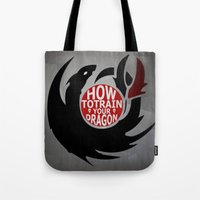how to train your dragon Tote Bags featuring How To Train Your Dragon (Hiccup's Shield) by KitsuneDesigns