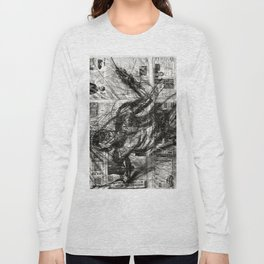 Breaking Loose - Charcoal on Newspaper Figure Drawing Long Sleeve T-shirt