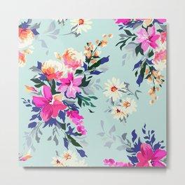Painted vintage florals Metal Print