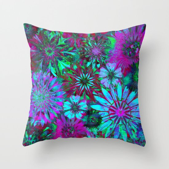 Rivalry of Flowers - green & lilac Throw Pillow