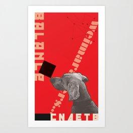 Constructivist Weimaraner Balancing Black Cube Art Print