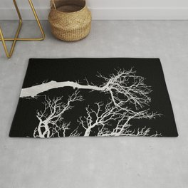 White tree branches silhouette #1 Rug