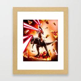 Laser Eyes Space Cat Riding Dog And Dinosaur Framed Art Print