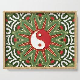 Red Yin Yang Sun Festive Mandala Serving Tray