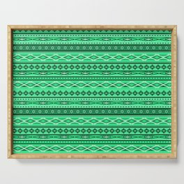 Modern Native Navajo Ethnic Tribal - Green Ruby Color Serving Tray