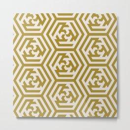 Yellow Sage Moroccan Geometric Pattern Metal Print