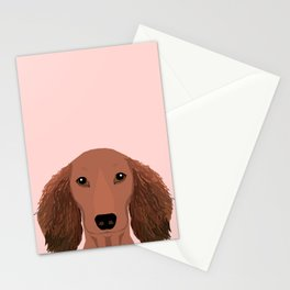 Long Haired dachshund doxie must have gifts red coat color unique dog breed gift ideas Stationery Cards