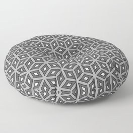 Grey and White Hexagonal Monochrome Geometric  Pattern Floor Pillow