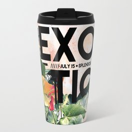 Exotic flowers graphic print with text on it. Travel Mug