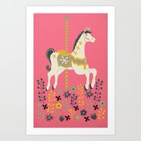 carousel Art Prints featuring Carousel by Prelude Posters