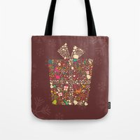 gift card Tote Bags featuring Christmas Gift 01 by BlueLela