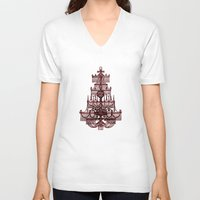 chandelier V-neck T-shirts featuring Vintage Chandelier by Bluepress