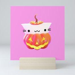 Pumpkin Cat Mini Art Print