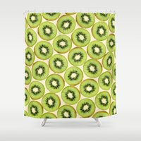 kiwi Shower Curtains featuring Kiwi by StrawberryBlossoms
