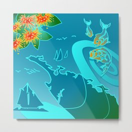 NZ Map With Pohutukawa Fish and Boats Metal Print