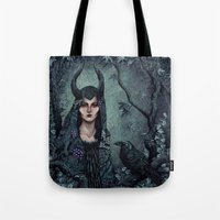 maleficent Tote Bags featuring Maleficent by Angela Rizza