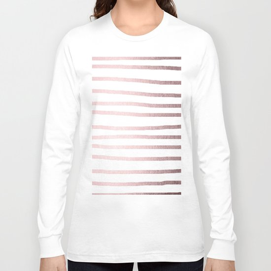 Simply Drawn Stripes Rose Gold Palace Long Sleeve T-shirt